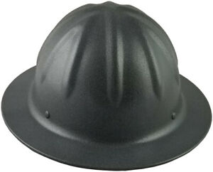 Skullbucket textured Gun Metal Aluminum Hard Hat Ratchet Susp W Chin Strap