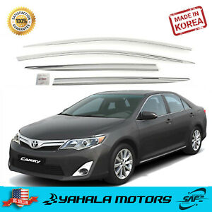 Chrome Wind Rain Guard Window Sun Visor Deflectors For 2012 2014 Toyota Camry