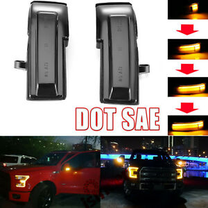 Pair Side Mirror Led Dynamic Turn Signal Lights Smoked For Ford F 150 15 18 Us