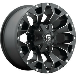4 17x9 Fuel Assault D576 5 6 Lug New Black Milled Wheels Rims Free Caps Lugs