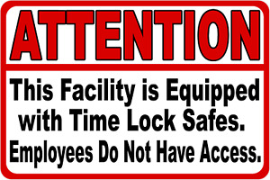Facility Equipped W Time Lock Safes 5 pack 5 decals Size Options No Access