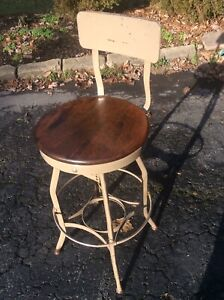 Vtg Industrial Toledo Wood Metal Stool Adj 27 To 31 Beautiful Seat Nice