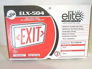 Elite Lighting Elx 504 r w Exit Sign With Emergency Circuit Damp Location App