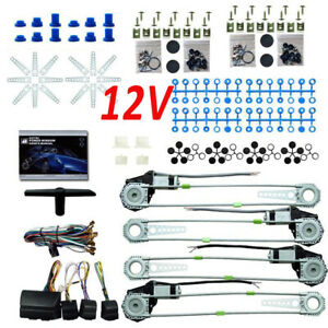 Universal Electric Power Window Lift Regulator Conversion Kit 4door W 4 Switches