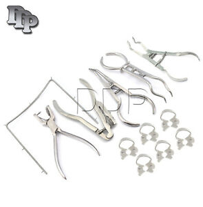 Dental Rubber Dam Instruments Kit Brinker Clamps Frame Punch Forceps Endodontics
