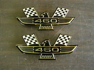 Ford 460 Crossed Flag Fender Emblems Gold Mustang Fairlane Galaxie Falcon 1969