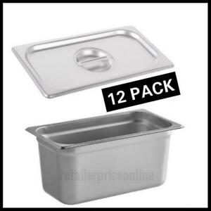 12 Pack 1 3 Size 6 Deep Stainless Steel Steam Table Hotel Pan With Cover