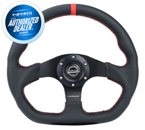 New Nrg Steering Wheel Flat Bottom Red Stitch W Center Mark Rst 024mb R Rd