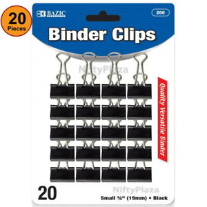 20 Pcs Small 3 4 19mm Black Binder Clips Solid Hold Releases Easily Tackle