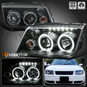 For 1999 2004 Vw Jetta Led Halo Rims Projector Headlights Black W Fog Lights