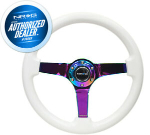 New Nrg White Wood Grain Steering Wheel 3 Deep Neochrome Spoke Rst 036mc Wt