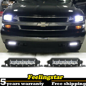 Led Light Bar 2 Side Bumper Offroad Fog Lamp For 99 02 Chevy Silverado 1500 2500