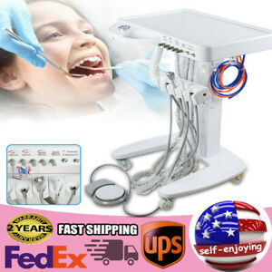Dental Delivery Mobile Cart Unit System Treatment Equipment 4 Hole weak Suction