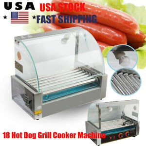 Electric Commercial 18hotdog Hot Dog 7 Roller Grill Cooker Machine 1050w Cover