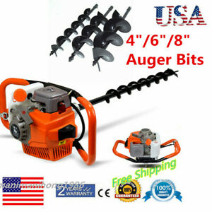 71cc Power Engine Gas Powered Post Hole Digger With 4 6 8 Auger Bits