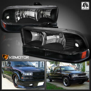 For Black 1998 2004 Chevy S10 Blazer Headlights Bumper Signal Parking Lamps Pair