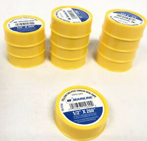 Case Of 12 Mainline Ml15100 1 2 X 260 Yellow Gas Ptfe Thread Seal Tape
