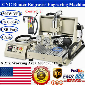 Usb 4 Axis 6040 Cnc Router Engraver 1500w Vfd spindle Milling Machine handwheel