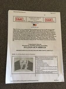 Fulton Sun Shield Visor Shade Series 600 700 Data Installation Instructions
