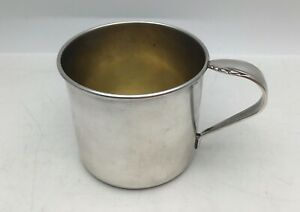 Vintage Heirloom Sterling Silver Baby Cup Mug With Ornate Scroll Band