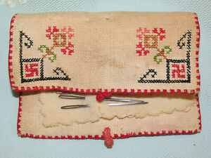 Antique Finely Embroidered Needle Case Hand Sewing Needles