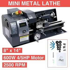 Upgraded 8 x14 Automatic Mini Metal Lathe Variable speed Dc Motor 600w Digital