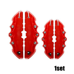 2 Pair 3d Style Red Car Disc Brake Caliper Covers Rear Front Universal Useful