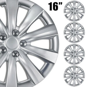 4 Pc Hubcaps Abs Silver 16 Inch Rim Wheel Universal Cover Hub Caps Covers Cap