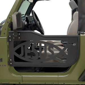 Jesus Fish Tubular Door Full Set With Mirror Fit For 07 18 Jeep Jk Wrangler 2dr