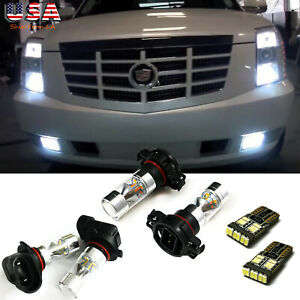 6x White Led For 2007 14 Cadillac Escalade Fog Driving Drl Light Bulbs Combo Kit