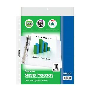 Economy Weight Top Loading Sheet Protectors 10 pack Holds 8 5 X 11 Paper