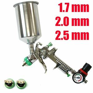 1 7 2 0 2 5mm Hvlp Paint Spray Gun Gravity Fed 1l Aluminium Cup W Air Regulator