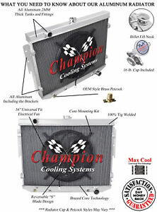 3 Row Performance Champion Radiator W 16 Fan For 1974 Dodge Charger V8 Engine
