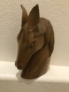 Mid Century Modern Carved Wood Horse