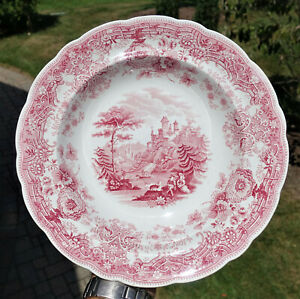 Superb Antique Staffordshire Pearlware Transferware Soup Plate Tyrolean Ridgway