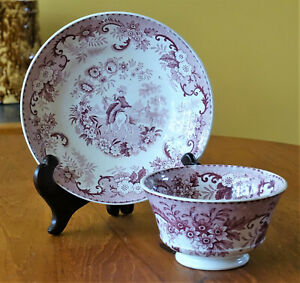 Antique Pearlware Transferware Staffordshire Spanish Lady Cup Saucer Set Mayer