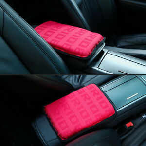 Jdm Bride Red Fabric Car Armrest Pad Cover Center Console Box Cushion Mat