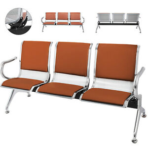 Waiting Chair Heavy Pu Leather 3 Seat Office Bank Airport Reception Room Bench