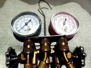 Hvac Manifold Gauges Set With 5 Hoses Quick Disconnects