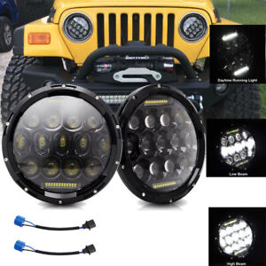 Pair 280w 7 Inch Round Led Headlight Halo For Jeep 97 2018 Wrangler Jk Lj Tj