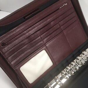 Day timer Leather Desk Planner Zipper Organizer Fits Franklin Covey Classic