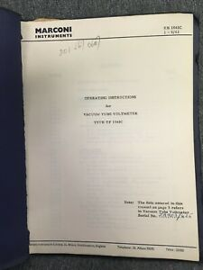 Marconi Instruments Vacuum Tube Voltmeter Type Tf 1041c Operating Instructions