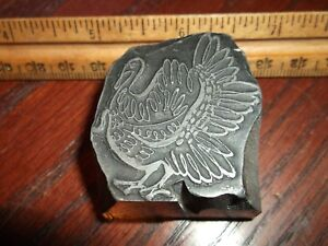 Vintage Solid Lead thanksgiving Turkey Cut Foundry Type Letterpress Printing