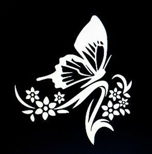 Butterfly And Flowers Sticker Decal For Any Flat Surface Window Car Yetti