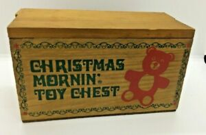Vintage Christmas Mornin Toy Chest Wooden Small Decor Painted Teddy Bear