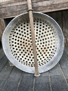 Vintage Round Galvanized Sifter With Long Handle