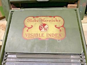 Vintage Globe Wernicke Visible Index Card File Catalog Cabinet Parts Repurpose