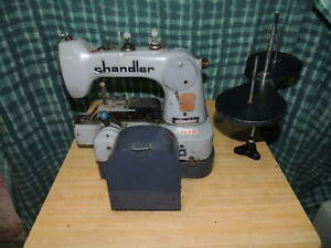 Chandler 485p Button Industrial Sewing Machine W Table Base Table