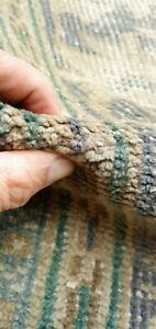 Antique 1940 1950 S Distressed Wool Pile Old Sage Geen Oushak Area Rug 8x10ft