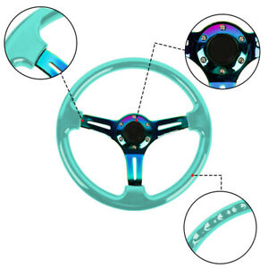 350mm 14 Universal Deep Dish Abs Racing Steering Wheel Green Neo Chrome